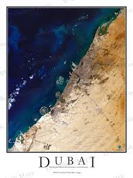 Actual World Map by Dubai Uae Satellite Map Print Aerial Image Poster
