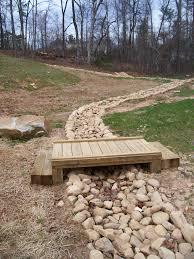 river rock creek bed with wooden step bridge dahlonega ga