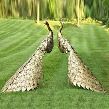 peacock statue golden peacock statue outdoor metal set of 2