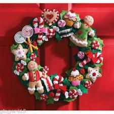 felt christmas bucilla gingerbread cookies and candy felt christmas wreath kit