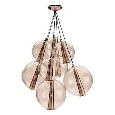 Cluster Pendant Light Gold Glass Eight Light Cluster Pendant