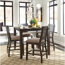 square dining room counter table with wire brushed brown gray