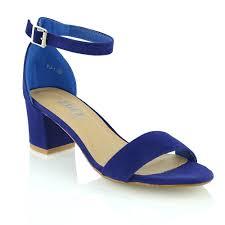 essex glam womens low mid heel block peep toe ladies ankle strap
