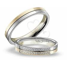 two tone wedding rings his hers mens womens matching 10k two tone gold wedding bands