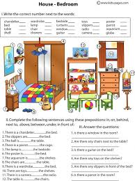 bedroom and prepositions worksheet