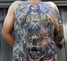 large religious style colored whole chest tattoo tattooimages biz