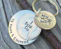 15 year anniversary gift for husband 15 year anniversary nickel dime keychain gift for him