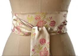 satin sash belt ivory satin obi belt pink flower obi sash wedding obi belt