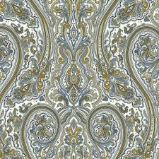 paisley wallpaper in blue and gold design by york wallcoverings