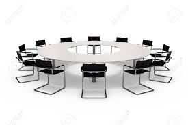 White Conference Table Conference Table And Chairs Isolated On White Background Stock