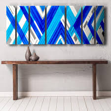 abstract wall axiom abstract geometric metal wall painting blue dv8 studio