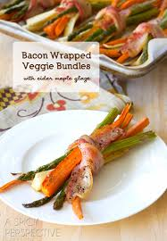 bacon wrapped roasted vegetables maple glaze