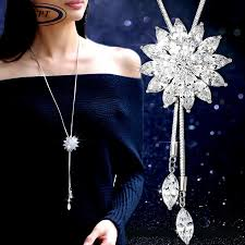 long crystal pendant necklace images Byspt zircon snowflake long necklace sweater chain fashion fine jpg