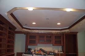 Basement Ceiling Ideas White Color Painted Basement Tray Ceiling Combined With Small Lamp