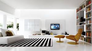 Black White Striped Rug Lcd Tv On White Panel Connected By Brown Lounge Chair And Black