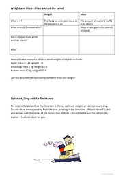 weight mass upthrust drag worksheet ks3 by pand teaching