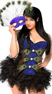 Halloween Costumes Female Size Size Peacock Masquerade Corset Costume Holiday U0027s
