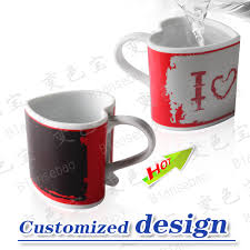 Color Changing Mugs New Product Color Changing Magic Mug New Design Heart Shape Handle