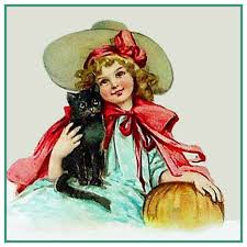 vintage halloween black cat pumpkin by frances brundage