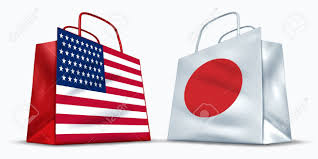 Japan Rising Sun Flag America And Japan Trade Symbol Represented By Two Shopping Bags