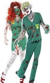 Mens Doctor Halloween Costume Couples Mens Ladies Zombie Paramedic Doctor Scrub Nurse Nhs