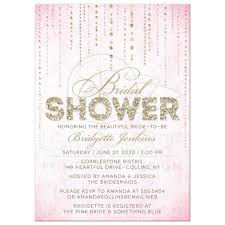 bridal shower invitations pink u0026 gold glitter look streaming gems