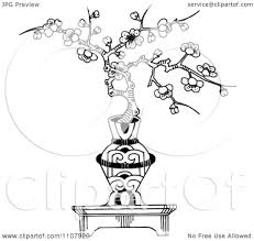 clipart cherry blossom bonsai in an ornamental vase royalty free