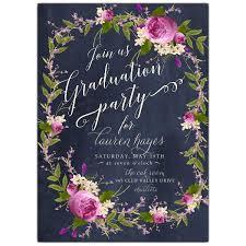 graduation party invitations floral bouquet wreath blue chalk graduation party invitations