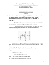 What Is In Law Unit by 16 Marks Ec I Unit I Bipolar Junction Transistor Amplifier