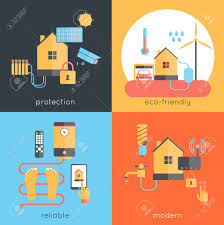 smart home design concept set with protection eco friendly