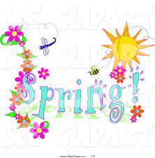 vector clip art of a blue spring time greeting with a dragonfly