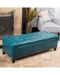 Aqua Storage Ottoman Slash Prices On Guernsey Studded Faux Leather Storage Ottoman