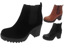 womens ankle boots uk womens mid chunky block heel chelsea low ankle boots platform