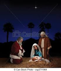 santa and baby jesus christmas nativity with santa claus christmas nativity stock