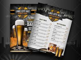 menu bar templates sports bar menu flyer graphic design sports bars