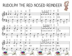easy piano music rudolph red nosed reindeer