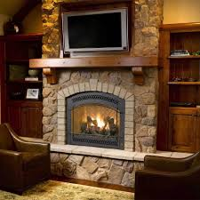Gas Fireplace Mantle by Marvelous Neutral Stone Fireplace Mantel Ideas By Fetching Black