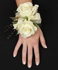 prom wrist corsage ideas corsage with white roses and white ribbon boutonniere