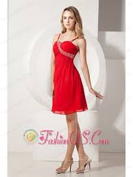 red a line spaghetti straps prom homecoming dress knee length