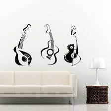 home wall design interior guitar wall decal electro jazz musical instrument decals image