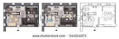 architectural colorful floor plan interior working stock