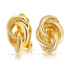 open circle knot clip on earrings