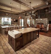 kitchen room spanish tile floor with stainless steel undermount
