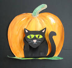 halloween background cat and pumpkin that artist woman halloween cat art project