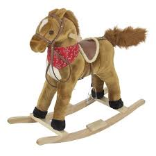 rocking horse plush brown with sound toy boys rocking horse solid