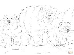 polar bear with two cubs coloring page free printable coloring pages