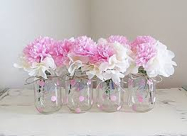 jar center pieces pink polka dot jar centerpieces baby shower jars