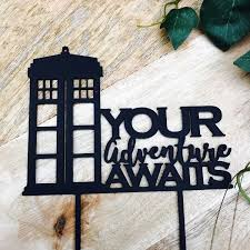 doctor who cake topper tardis cake topper your adventure awaits cake topper birthday cake