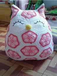 crochet cute owl of african hexagone for kids craft ideas