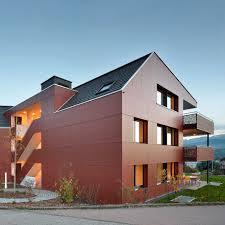 ventilated facade cladding in wood fiber smooth panel